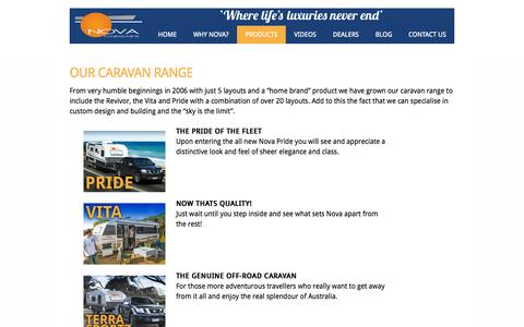 Screenshot of Products Page novacaravans.com.au - Nova Caravans - New Caravan Product Range - captured Oct. 1, 2014