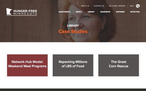 Screenshot of Case Studies Page hungerfreemn.org - Case studies » Hunger-Free Minnesota - captured Oct. 3, 2014