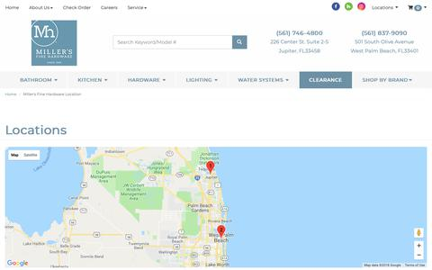 Screenshot of Contact Page Locations Page millershardware.com - Contact Miller's Fine Hardware in Florida - captured Oct. 20, 2018