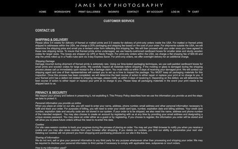 Screenshot of Support Page jameskay.com - Customer Service - captured Nov. 26, 2016