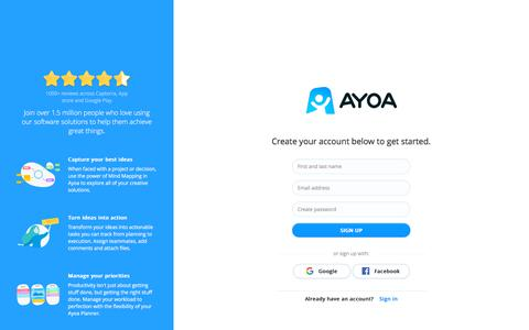 Screenshot of Signup Page ayoa.com - Ayoa Authentication - captured Nov. 12, 2019