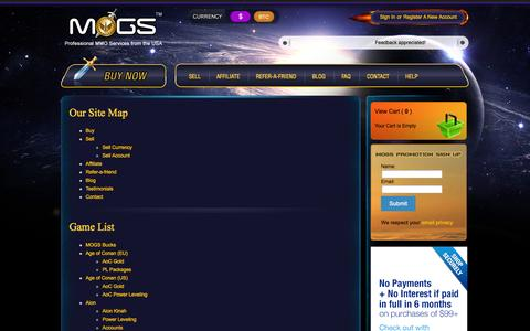 Screenshot of Site Map Page mogs.com - Professional MMO Services from the USA | MOGS.com - captured Oct. 1, 2014