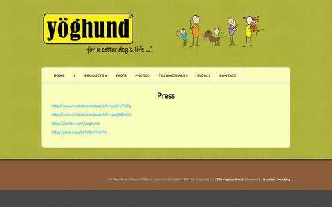 Screenshot of Press Page yoghund.com - Press | Yoghund - captured Oct. 9, 2014