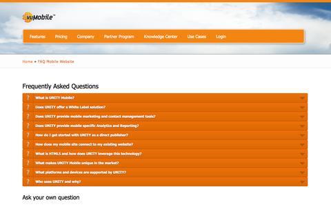 Screenshot of FAQ Page unitymobile.com - FAQ Mobile Website | vuMobile - captured Sept. 17, 2014
