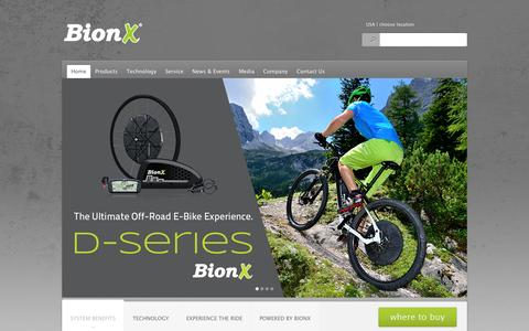 Screenshot of Home Page ridebionx.com - home page - e-bike, electric bicycle systems | ridebionx.come-bike, electric bicycle systems | ridebionx.com - captured Oct. 3, 2014