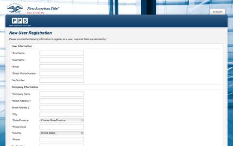 Screenshot of Landing Page firstam.com - Register - captured Aug. 12, 2016