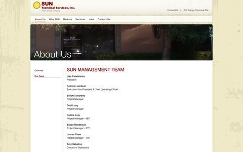 Screenshot of Team Page suntechnical.com - Management Team – SUN Technical Services - captured Oct. 3, 2014
