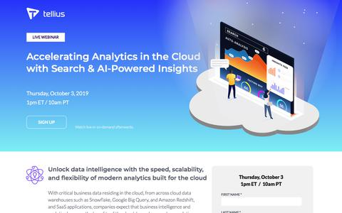 Screenshot of Signup Page tellius.com - Accelerating Analytics in the Cloud with Search & AI-Powered Insights - Tellius Webinar - captured Sept. 11, 2019