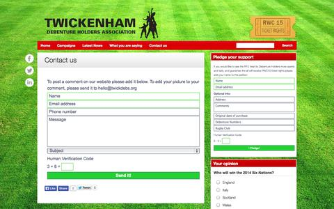 Screenshot of Contact Page twickdebs.org - Contact Twickenham Stadium - captured Oct. 7, 2014