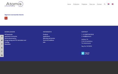 Screenshot of Terms Page atomis.nl - Algemene Voorwaarden - Atomis - captured Nov. 21, 2016