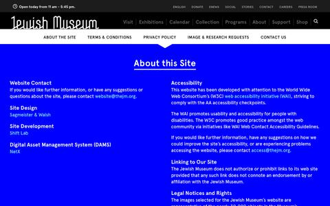 Screenshot of Privacy Page Terms Page jewishmuseum.org - The Jewish Museum - About this Site - captured July 8, 2018