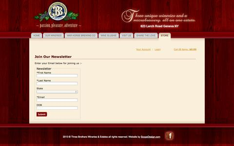 Screenshot of Signup Page 3brotherswinery.com - Three Brothers Wineries - Unsubscribe - captured Oct. 7, 2014