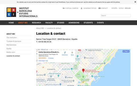 Screenshot of Contact Page ibei.org - Location & contact | Institut Barcelona d'Estudis Internacionals (IBEI) - captured Sept. 26, 2018