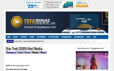 Screenshot of Press Page trekmovie.com - Star Trek (2009 film) Media – TrekMovie.com - captured Sept. 2, 2016
