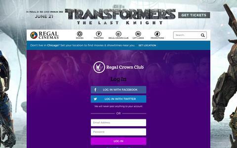 Screenshot of Login Page regmovies.com - Login | Regal Crown Club, Regal Cinemas, Edwards & UA Theatres - captured June 20, 2017
