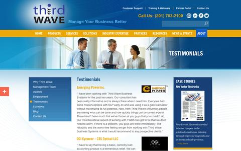 Screenshot of Testimonials Page twbs.com - Third Wave Business Systems' Testimonials - captured Oct. 10, 2014
