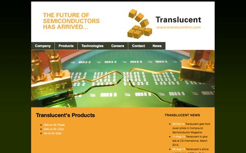 Screenshot of Products Page translucentinc.com - Products - captured Oct. 7, 2014