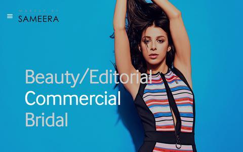 Screenshot of Home Page makeupbysameera.com - Makeup by Sameera - captured July 27, 2018