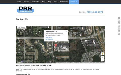 Screenshot of Contact Page prrcomputers.com - Contact Us | PRR Computers, LLC - captured April 16, 2016