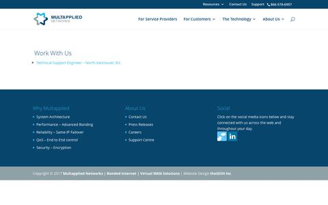 Screenshot of Jobs Page multapplied.net - Multapplied Networks   Bonded Internet   Virtual WAN Solutions   Careers with Multapplied Networks Inc. - captured Oct. 10, 2017