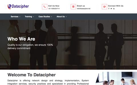 Screenshot of About Page datacipher.com - Datacipher | Empowering Indian Networking Champions | Juniper Engineers | Juniper Professional Services - captured Oct. 12, 2017