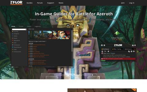 Screenshot of Home Page zygorguides.com - Zygor Guides - captured Sept. 20, 2018