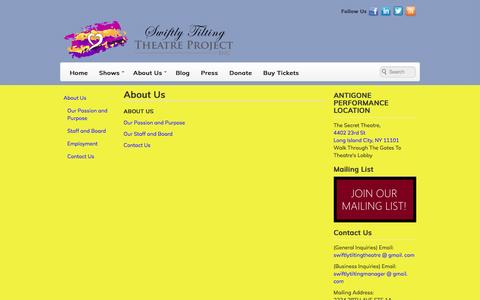 Screenshot of About Page swiftlytiltingtheatre.org - About Us   Swiftly Tilting Theatre Project, Inc. - captured Dec. 22, 2016