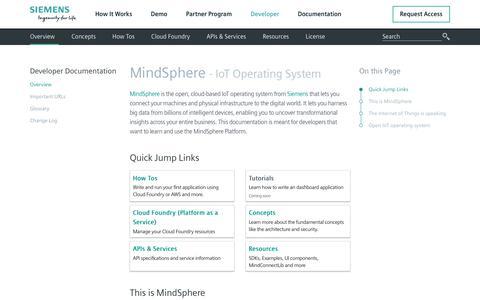 Screenshot of Developers Page mindsphere.io - Developer Documentation - captured July 11, 2018