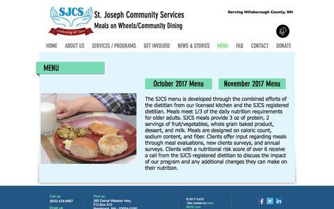 Screenshot of Menu Page mealsonwheelsnh.org - sjcs-meals-on-wheels | MENU - captured Oct. 24, 2017