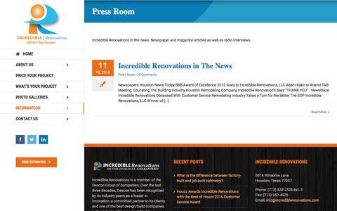 Screenshot of Press Page incrediblerenovations.com - Press Room Archives   Incredible Renovations - captured July 22, 2016