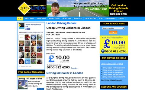 Screenshot of Home Page yourlondondrivingschool.co.uk - Driving Schools in London - London Driving School - captured Oct. 3, 2014