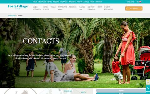Screenshot of Contact Page fortevillageresort.com - Contacts - Forte Village Resort Sardinia - captured Aug. 4, 2016