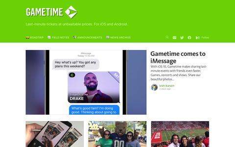 Screenshot of Blog gametime.co - Gametime - captured Sept. 19, 2016