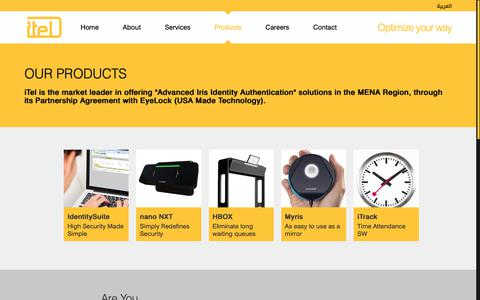 Screenshot of Products Page itelmea.com - Itel   Optimize Your Way! - captured Oct. 13, 2018