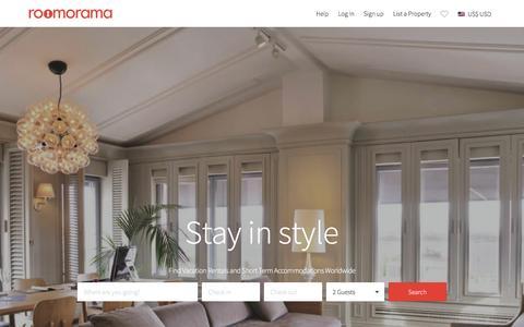 Screenshot of Home Page roomorama.com - Vacation Rentals, Short Term Holiday Homes & HomeStay - Roomorama - captured Feb. 1, 2016