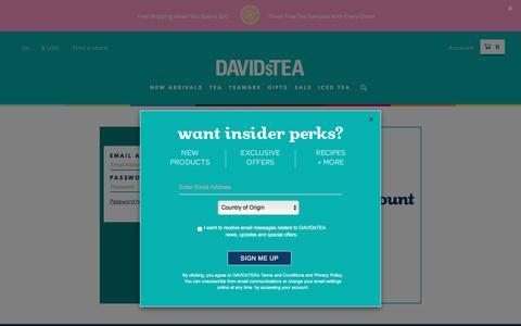 Screenshot of Login Page davidstea.com - Customer Login - captured May 9, 2017