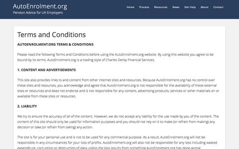 Screenshot of Terms Page autoenrolment.org - Terms and Conditions - AutoEnrolment.org - captured Oct. 4, 2014