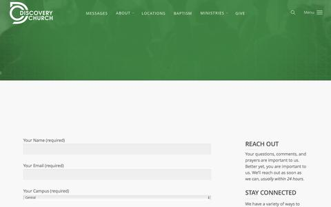 Screenshot of Contact Page discoverychurch.org - Contact | Discovery Church - captured June 4, 2017