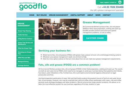 Screenshot of Services Page goodflo.com - Grease Management for Commercial Kitchens | Goodflo - captured Sept. 4, 2017