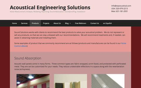 Screenshot of Products Page ssacoustical.com - Products - Acoustical Engineering Solutions - captured Dec. 3, 2016