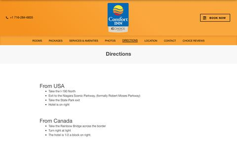 Screenshot of Maps & Directions Page comfortinnthepointe.com - Comfort Inn The Pointe Niagara Falls - Niagara Falls, NY – Comfort Inn The Pointe Niagara Falls – Niagara Falls – United States of America - captured Oct. 2, 2018