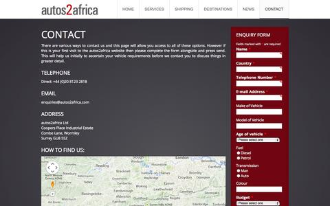 Screenshot of Contact Page autos2africa.com - Contact | autos2africa | Vehicle Export Sourcing Agency - captured Sept. 30, 2014