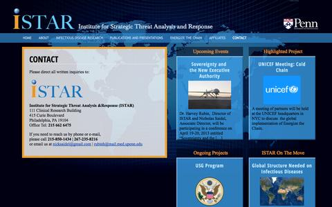 Screenshot of Contact Page istarpenn.org - Contact - ISTAR - captured Oct. 6, 2014