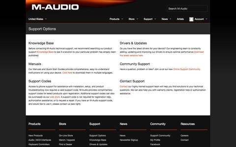 Screenshot of Support Page m-audio.com - M-Audio - Acclaimed audio interfaces, studio monitors, and keyboard controllers - captured Nov. 1, 2014