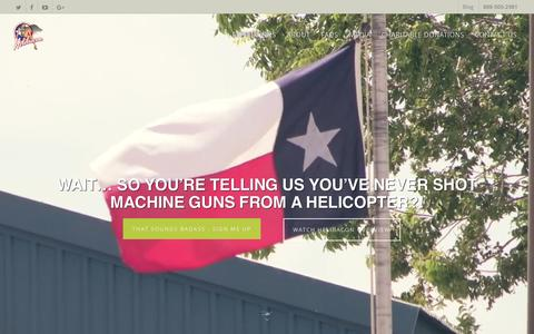 Screenshot of Home Page helibacon.com - Texas Helicopter Hog Hunt, Aerial Machine Gun Range & Heli Rental - captured May 17, 2017