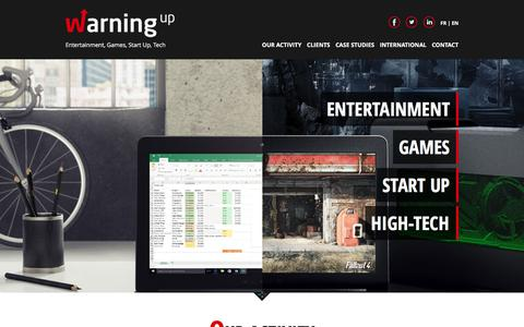 Screenshot of Home Page warningup.com - Warning Up - The games, lifestyle an high-tech agency - captured Sept. 2, 2016