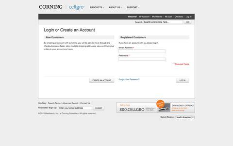 Screenshot of Login Page cellgro.com - Customer Login - captured Oct. 4, 2014