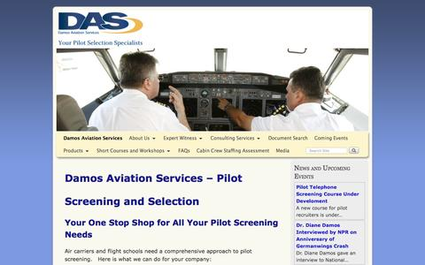 Screenshot of Home Page damosaviation.com - Pilot Hiring and Screening Consulting Services. Expert witness. - captured Nov. 23, 2016