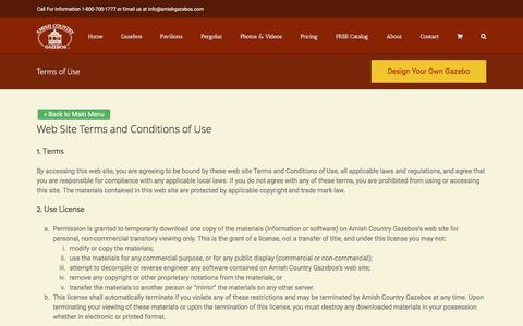 Screenshot of Terms Page amishgazebos.com - Terms & Conditions Of Use   Amish Country Gazebos - captured Jan. 10, 2017