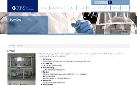 Screenshot of Services Page foodpharmasystems.com - Services   FPS - glovebox, labomills, pilotmills, promills - captured Oct. 2, 2018